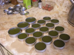 Salve made with herbal oil.